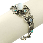 English Arts and Crafts ZW and Co Silver Moonstone and Turquoise Bracelet