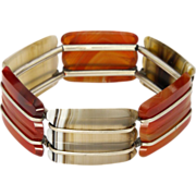 Scottish Art Deco Agate and Silver Expansion Bracelet