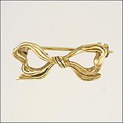 English 9K Gold Dainty Bow Pin - Hallmarked 1973