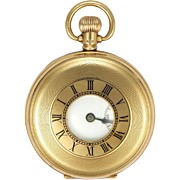 English 1926  9K Gold Dennison Pocket Watch -Half Hunter