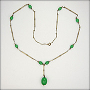 Art Deco German Metal & Glass Bead Drop Necklace