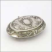 French Antique Silver Compact Box Pendant by Quitte Prudent