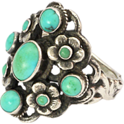 English Arts and Crafts Sterling Silver and Turquoise Ring ZW and Co