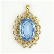 Blue Spinel Gemstone & 9K Gold Pendant