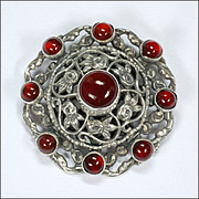 English Zoltan White Arts and Crafts Silver and Carnelian Agate Pin