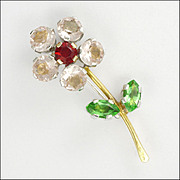 SALE 18K Yellow and White Gold Paste Flower Pin