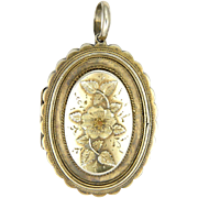 English Victorian Gold Washed Sterling Silver Flower Locket - 1882