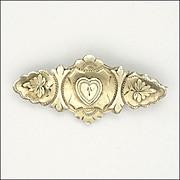 Victorian Silver Heart Pin - 1897