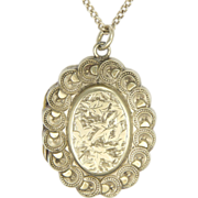 Victorian  Sterling Silver Sentimental or Memorial Locket with Chain