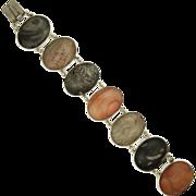 Victorian Scottish Fossil Pebbles 0n Sterling Silver Bracelet