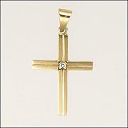 English 9K Gold Diamond Cross Pendant