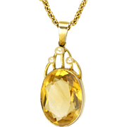 English Edwardian 9K Citrine & Pearl Necklace