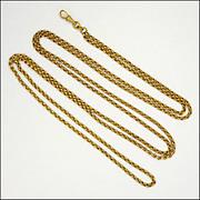 "Victorian Pinchbeck Long Guard Chain - 52"" - 30.6 grams"