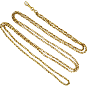 "Victorian Pinchbeck Long Guard Chain - 52"" - 30.6 grams"