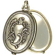 French Circa 1880 Double Mirror Slide Silver Pendant