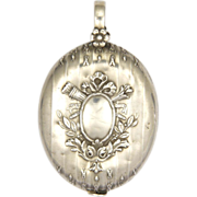 French Antique Silver Ribbons and Garland Mirror Slide Pendant