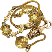 French Victorian Gilt Brass and Gold Overlay Ladies Watch Chain Bracelet