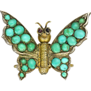SOLD European Silver Gilt Turquoise & Garnet Butterfly Pinch Pin - Red Tag Sale Item