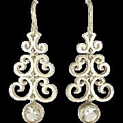 Swedish Silver and Rock Crystal  'Chandelier' Earrings
