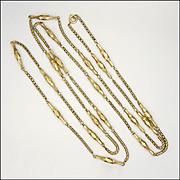 """Victorian 9k Gold Decorative Guard Chain - 58½"""" -36.7 grams"""