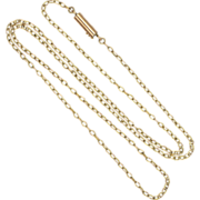 "Victorian 9k Gold Chain Tubular Clasp - 17"" - 2 grams"