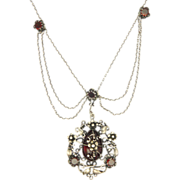 Arts & Crafts Silver and Garnet Festoon Necklace