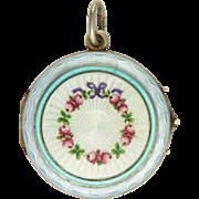 European 800 Silver Enamel Garland of Flowers Antique Locket