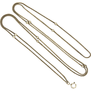 """SOLD Fremch Victorian Silver Snake Guard Chain with Silver Balls - 54"""" -  24.6 grams"""