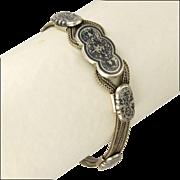 SALE Victorian 900 Silver and Niello Bracelet