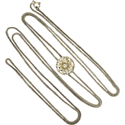 """French Antique Silver Snake Guard Chain with Daisy Slider - 57"""" - 17.5 grams"""