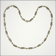 """French Antique Decorative Silver Necklace - 20½"""" - 11.1 grams"""