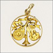 English 9K Gold Musical Instruments Charm - Hallmarked 1957
