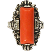 German Art Deco 835 Silver and Coral Ring
