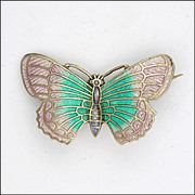 English Art Deco Silver Enamel Butterfly Pin -  signed OT&S