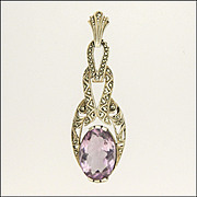 Art Deco Silver Marcasite and Amethyst Pendant