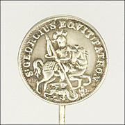European St George and Dragon Silver Stick Pin