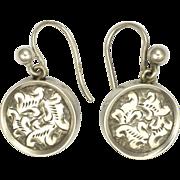 Victorian Silver Engraved Brass Backed Earrings - Pierced Ears