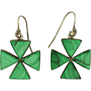 Victorian Malachite on Sterling Silver Cross Earrings - Pierced Ears