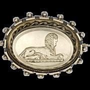 Victorian Silver Egyptian Sphinx Locket Back Pin