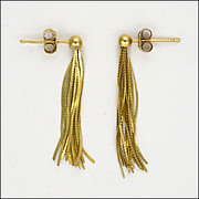 9k Gold Tassel Earrings - Pierced Ears