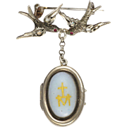 French Antique Silver Swallows Opaline Locket Pin - Religious Motifs