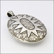 Victorian Silver Star and Ivy Leaf Engraved Locket