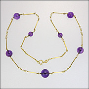 Vintage 14K Gold and Amethyst Bead Necklace - 17½""