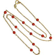 """9k Gold and Natural Coral Bead Necklace - Hallmarked 1978 - 19¼"""""""