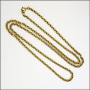 "English Antique 9K Gold Heavy Chain - 32"" - 33.7 grams"