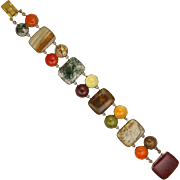Georgian 9K Gold and Multi Coloured Scottish Agates Bracelet