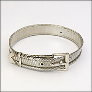French Art Deco Silver on Copper Mesh Bracelet