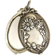 SOLD Art Nouveau European 800 Silver Daisy Mirror Slide Pendant