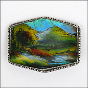 English Art Deco Silver and Butterfly Wing Scenic Pin - TLM