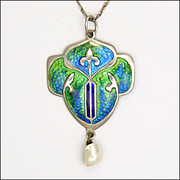 Arts and Crafts Silver Enamel Pendant Necklace - English 1908